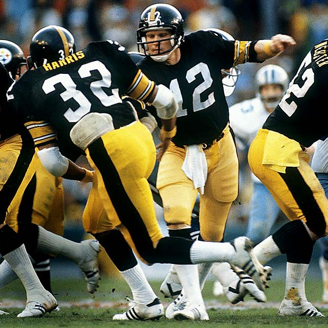 Terry Bradshaw hands off to running back Franco Harris in Super Bowl XIII, on Jan. 21, 1979, at the Orange Bowl in Miami. The Steelers defeated the Dallas Cowboys in the final minutes, 35-31. Bradshaw was named MVP after throwing four TD passes.