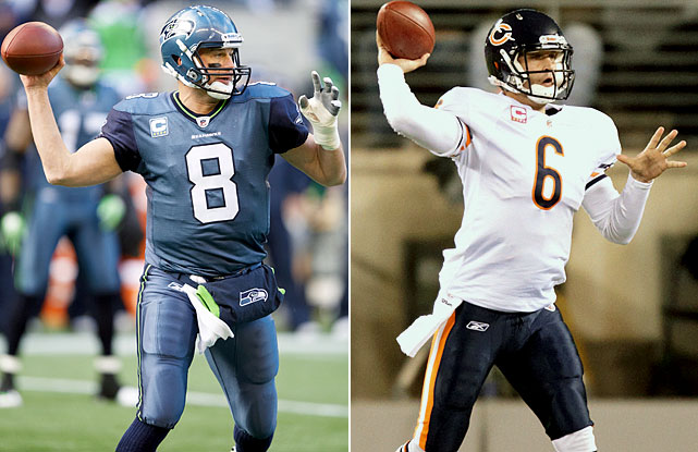 One of these quarterbacks is coming off a terrific performance, has a plus-plus arm, can make every throw, has played in the Super Bowl and has the confidence of every teammate and coach in the organization. The other is Jay Cutler. Interesting, isn't it, how one week, one turn of the prism, can change the way everything looks? There's no question Cutler reached another level of football in 2010. He put together a big season and showed a previously unseen ability to put his team on his back. Still, his last four games were below-average, performance-wise. The Bears went 2-2, he had as many interceptions as touchdowns and completed more than 52 percent of his passes just once. Hasselbeck, on the other hand, reminded everyone that playoff experience just flat-out matters. Hasselbeck has played in a Super Bowl. This will be Cutler's first playoff start.