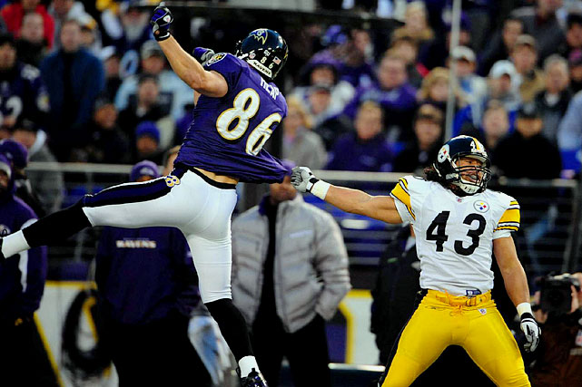 Todd Heap literally isn't in Kansas (City) anymore. Of all the battles within the battles, there may not be a better one between difference-making, tough, clutch performers than this one. Heap had a Ravens' record-setting day last week with 10 catches and 108 yards,  keying the road victory. Polamalu excels at over-the-middle coverage and playmaking. Both players have fought through injuries, with Heap missing the majority of a 13-10 loss to Pittsburgh earlier this year after pulling a hamstring on the game's first play.