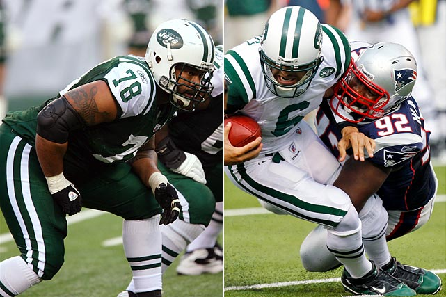 The Patriots end has been an integral part to the their success this year, stepping in on a one-year contract and making plays against the run and rushing the passer. With Ty Warren out for the year and Myron Pryor missing practice this week, Warren could be huge. Making it more crucial is that Jets starting right tackle Damien Woody was put on I.R. on Wednesday with an Achilles injury. Backup Wayne Hunter must step in. If the Jets don't get the running game going, pass protection against Warren, and perhaps Pryor, gets that much tough.