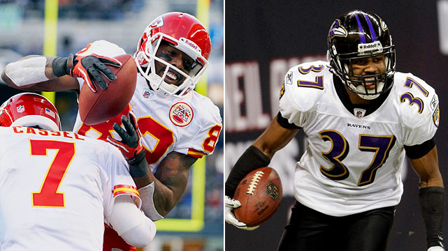 As much as both of these teams make their money pounding the ball on the ground and playing defense, rest assured Matt Cassel will test a hurting Ravens secondary through the air. Cassel quietly has had a very good season passing (27 TDs vs. 7 ints.). Wideout Dwayne Bowe (72 catches, 15 TDs) had a career year to lead Chiefs wideouts. The possibilities indeed are intriguing through the air for Kansas City. Starting Ravens corner Josh Wilson's status remains uncertain for the wild-card playoff after he suffered a shoulder stinger. He would be replaced by Fabian Washington, who was benched in November. Safety Ed Reed, who could cover talented Chiefs tight end Tony Moeaki, also was injured (ribs) in the Ravens' regular-season finale.