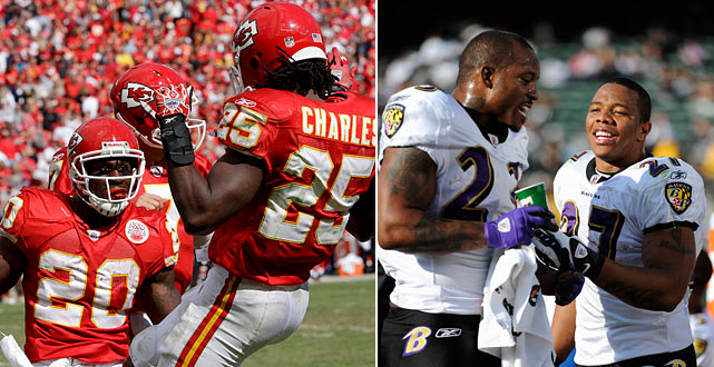 While these terrific tandems won't ever face each other per se, theirs will be a race to the finish in virtually every other way. Charles has been an explosive electric charge to the Chiefs' attack, complemented perfectly by Jones' tough runs. Rice has found his backfield soulmate in McGahee. The first defense that blinks or allows one of these four backs to run through an arm tackle could pay dearly and be in for a long offseason. It may not be the sexiest stat to watch, but whichever team has the highest yards-per-carry average likely will advance.