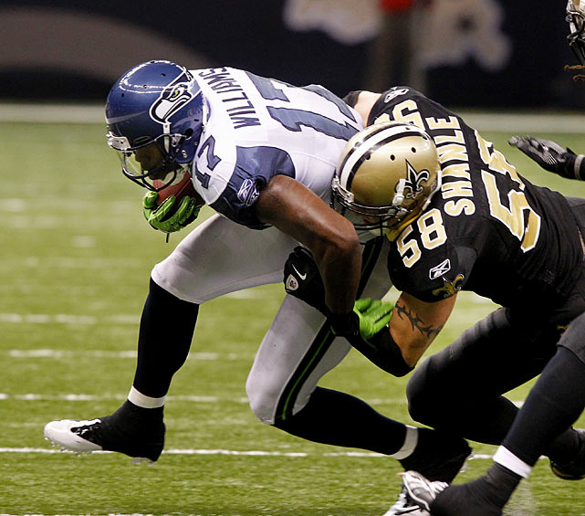 "Offensive only begins to describe the Seahawks' woes. They can't run and they can't pass. If they're going to keep the ball out of Drew Brees' hands, they'll need an imaginative short passing game, featuring bubble screens, flairs out of the backfield and -- let's be honest -- ""pick"" plays, with one receiver blocking to clear space for another. Mike Williams, Ben Obomanu and the Seattle back du jour MUST have yards after catch if they're going to have any chance to move the chains and eat clock."