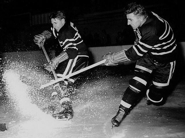 The Hall of Fame brothers, who starred for the Chicago Blackhawks for five seasons, were separated by Max's trade to Toronto in 1947. When Max retired at age 33 due to back problems after the 1952-53 season, the Maple Leafs sold his rights to the Rangers, for whom Doug, now 37, was playing after two seasons with Saskatoon of the WHL. They skated together in New York during the 1953-54 season (Max: 14 goals, 32 points; Doug: two and 10), then concluded their careers in the WHL.