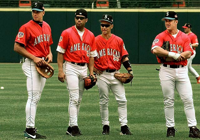 Alomar is joined on the field by fellow All-Stars from left, Alex Rodriguez, Joey Cora, and Edgar Martinez before the 1997 All-Star Game at Jacobs Field in Cleveland.