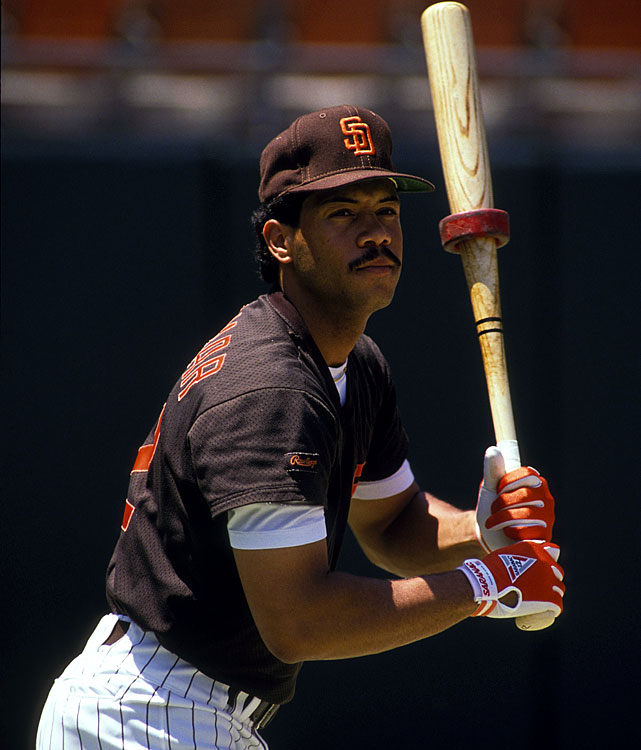 A young Alomar warms up before a 1989 game at Jack Murphy Stadium in San Diego. Alomar was drafted by the Padres in 1985 and made his major league debut in 1988. As a youngster, he was known for his flashy defense, speed on the base-paths and talents as a solid leadoff hitter. He made his first All-Star appearance as a reserve in 1990.