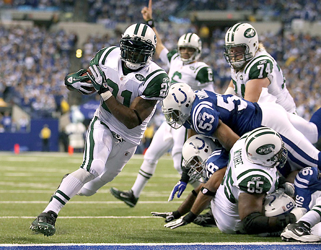Much to the delight of Jets QB Mark Sanchez (background), LaDainian Tomlinson rushed for 82 yards and two touchdowns against the Colts. For LT, it marked his first playoff victory since the 2007 season.