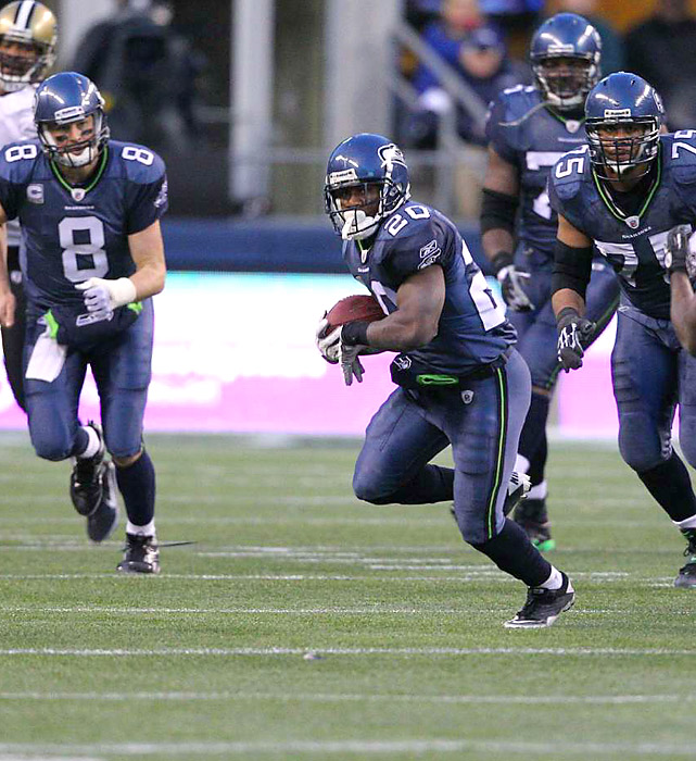 Justin Forsett and the Seahawks offense racked up 415 total yards against the Saints, who became the fifth consecutive NFL champion to miss the Super Bowl the following season.