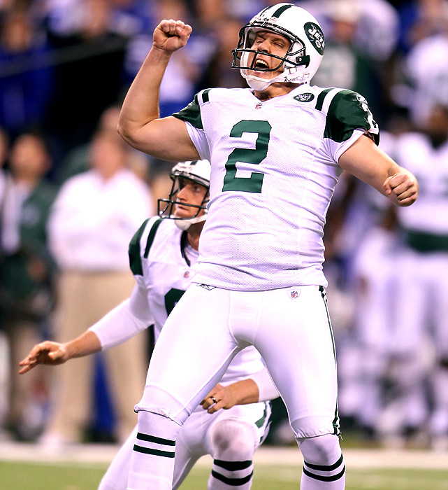 Kicker Nick Folk rejoices after coolly nailing a 32-yard kick to clinch the Jets' wild-card win at Indy. With the victory, New York locks up a rematch with New England, the AFC's prohibitive Super Bowl favorites.