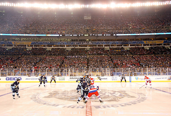 At 8:20 p.m., the puck finally dropped for real between the two Eastern Conference rivals, who had been profiled by the acclaimed HBO series  24/7 Penguins/Capitals: Road to the NHL Winter Classic .