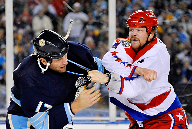 Pittsburgh's Michael Rupp and Washington's John Erskine dropped gloves in the scoreless first period.