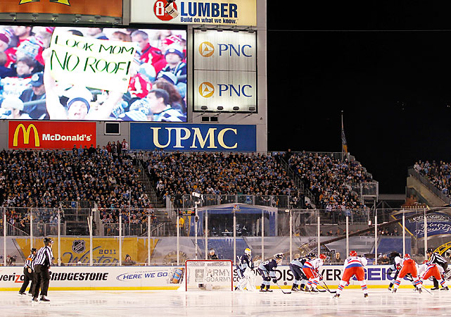 "An estimated crowd of 70,000 braved the elements in Pittsburgh. Capitals fans had a heavy turnout, as NBC announcers estimated there were about 30,000 wearing Washington's red and white. At one point, fans from both teams chanted ""Flyers suck"" in unison."