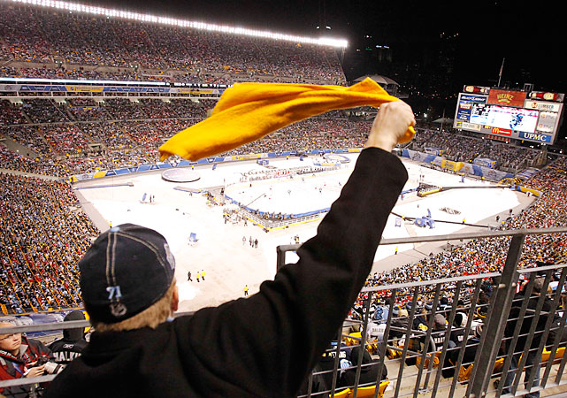 The Terrible Towel, a staple at Steelers games, was out in full force at Heinz Field. The field began its transformation from gridiron to rink after the Steelers-Panthers game on Dec. 23.