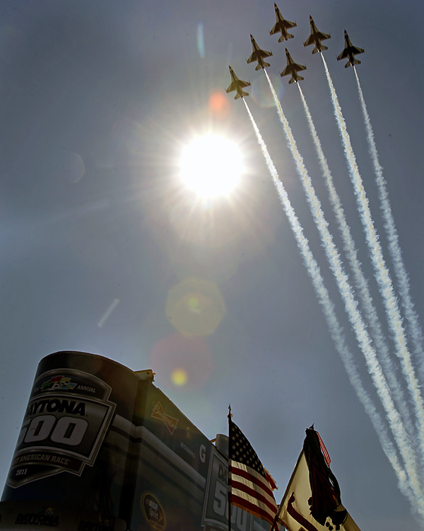 The precision flight team gave the crowd a charge by taking part in pre-race festivities.