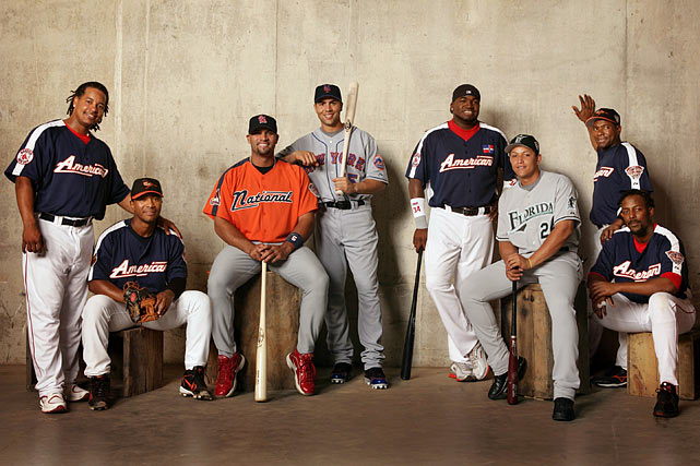 Pujols poses with fellow All-Stars Manny Ramirez, Melvin Mora, Carlos Beltran, David Ortiz,Miguel Cabrera, Miguel Tejada and Vladimir Guerrero before the 2005 game in Detroit. Pujols has been named to nine All-Star teams in his 10-year career.