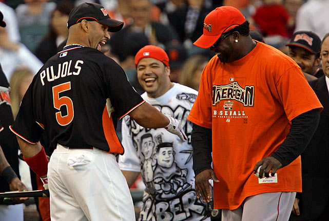 Pujols with David Ortiz during the 2007 Home Run Derby in San Francisco. Pujols, who currently has 408 career home runs, finished fourth in the competition.