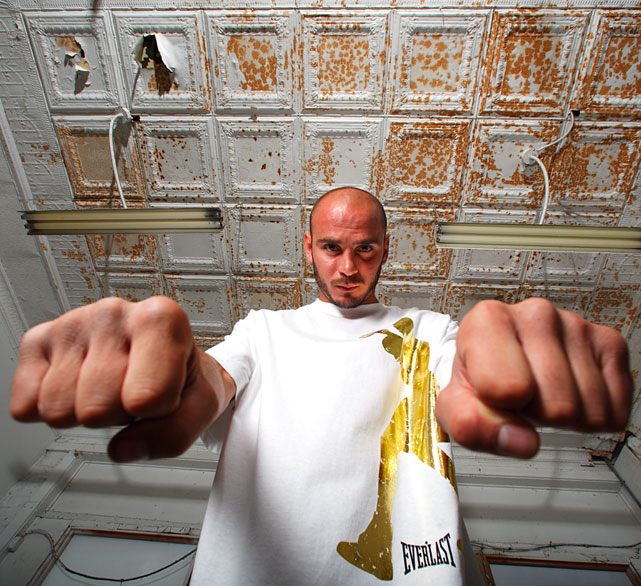 Pavlik poses inside Youngstown's Southside Boxing Club.