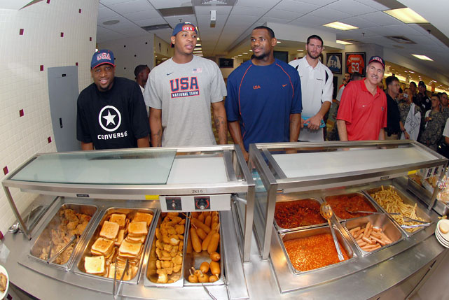 As part of Team USA, Carmelo and his teammates were treated to some gourmet fare after practice for Hoops for Troops in 2006 in Seoul, South Korea.