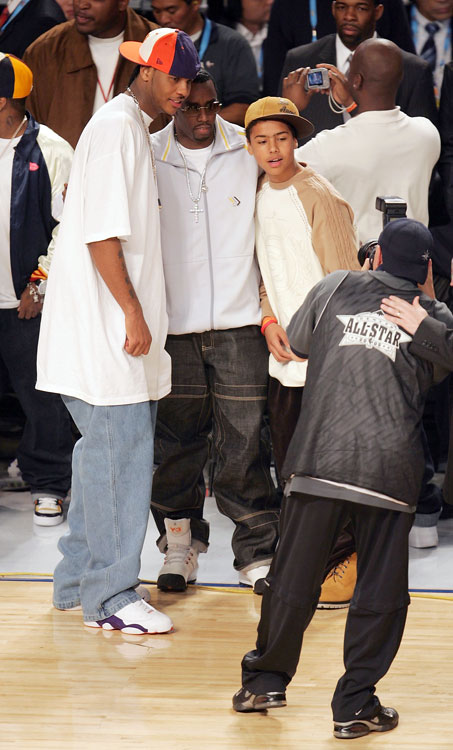 Carmelo and Diddy (back then he went by P. Diddy) strike a pose at the 2005 All-Star Game.