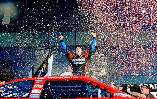 It was an upset for the ages. 20-year-old Trevor Bayne, in only his second Sprint Cup start, held off Carl Edwards to capture the checkers at the Great American Race. In the process, Bayne became the youngest driver to ever hit Victory Lane in NASCAR's biggest race.