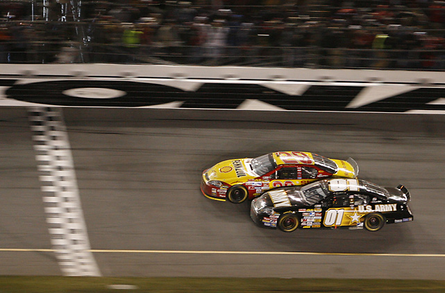 Rules seemingly should have dictated that the running order was locked when a melee broke out behind leader Mark Martin and Kevin Harvick's drag race to the finish line in the last few hundred feet of the 2007 Daytona 500. Or when Clint Bowyer's car went sliding upside down, showering sparks like a satellite re-entering orbit. But officials allowed Martin, who is winless in 51 starts at Daytona, and Harvick to duel to the final and Harvick nosed the finish line .020 seconds earlier.