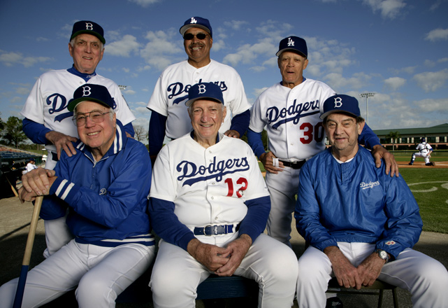 Snider, Carl Erskine, Clem Labine, Tommy Davis, Maury Wills, and Ralph Branca pose for a Sports Illustrated photo shoot during spring training.