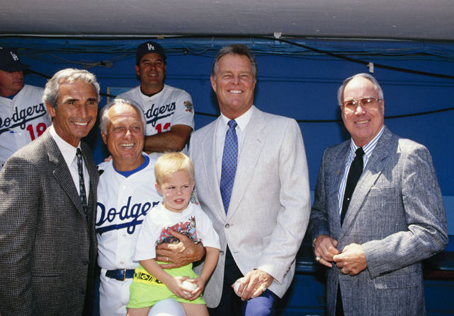 Snider joines Sandy Koufax, Tommy Lasorda and Don Drysdale at a photo shoot before the Dodgers' 1990 season opener in Los Angeles.