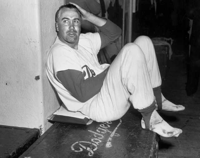 Snider relaxes after the third Game of World Series against the Yankees. The Dodgers would wind up winning the series in seven games to capture the first championship in franchise history.