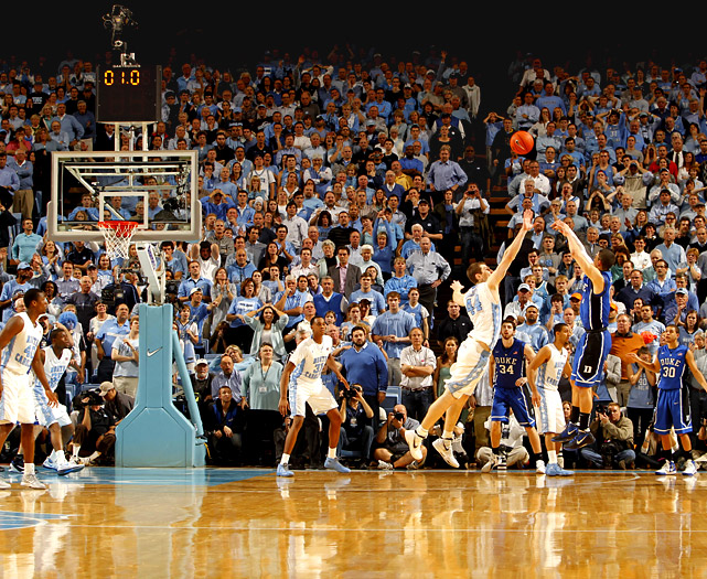 Austin Rivers fires the game-winning three-pointer over Tyler Zeller to clinch Duke's come-from-behind 85-84 win over North Carolina at the Dean Smith Center.