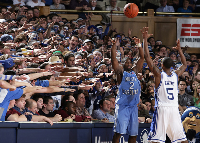 Raymond Felton ignores the distractions of the Cameron Crazies as he makes an inbounds pass.