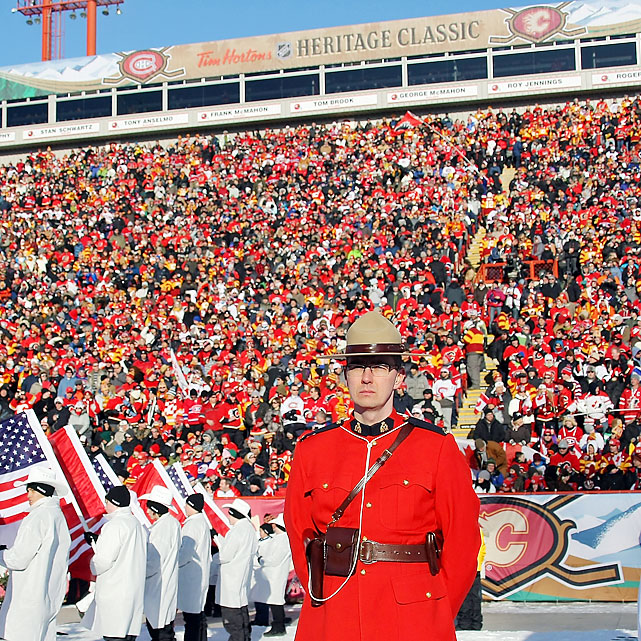 To make it a truly Canadian event, a Royal Canadian Mounted Policeman looks on prior to the start.