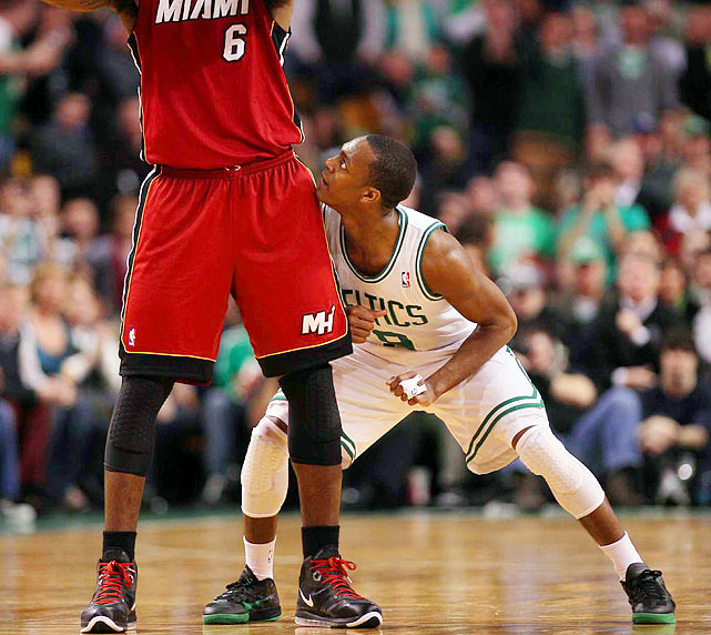 Point guard Rajon Rondo bumps up against LeBron James during the Celtics 85-82 win over Miami on Feb. 13.