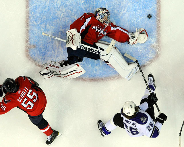 Los Angeles Kings center Michal Handzus barely slips a goal by Washington Capitals goalie Semyon Varlamov on Feb. 12. The Kings handled the Capitals 4-1 at the Verizon Center in Washington, D.C.