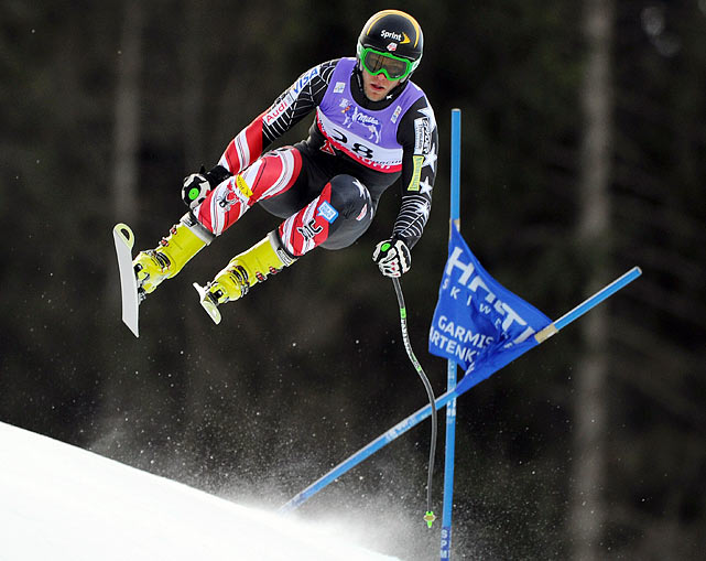 Steve Nyman of the U.S. speeds down the slopes in the Downhill training for the Alpine FIS Ski World Championships on Feb. 10.