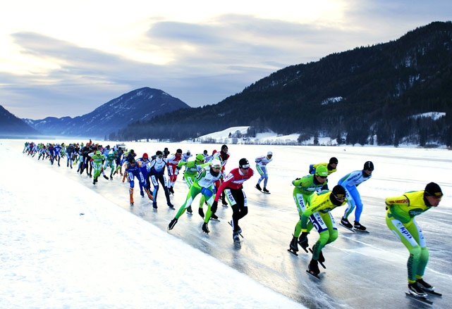 Ice skaters compete in the Alternative Elfstedentocht (Alternative Eleven City Races Weissensee), on Feb. 5.