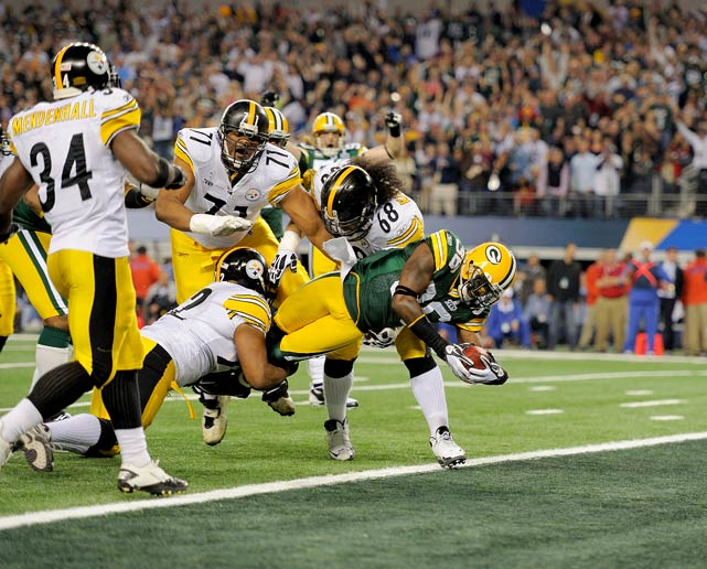 Green Bay's Nick Collins scores on an interception return during the first half of Super Bowl XLV against the Pittsburgh Steelers.