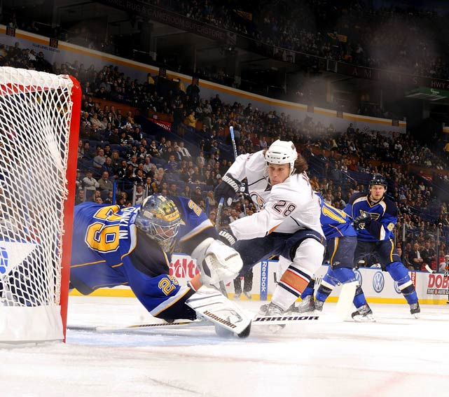 Edmonton's Ryan Jones shoots against St. Louis goalie Ty Conklin during a 5-3 loss at the Scottrade Center in St. Louis on Feb. 4.