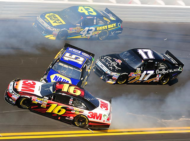 The cars of AJ Allmendinger (43), Greg Biffle (16), Michael Waltrip (15) and Matt Kenseth (17) were among those banged up during a crash at the Daytona 500. The 16 caution flags were a race record.