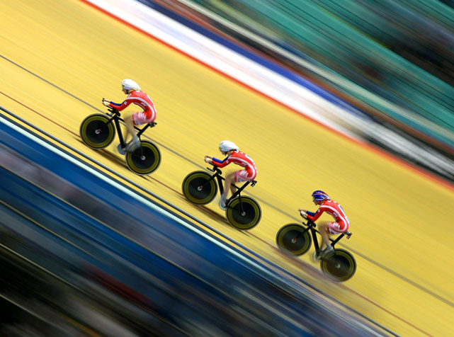 Wendy Houvenaghel, Joanna Roswell and Sarah Storey of Great Britain compete in the Team Pursuit qualification during day one of the UCI Track Cycling World Cup Classic at Manchester Velodrome on Feb. 18 in Manchester.
