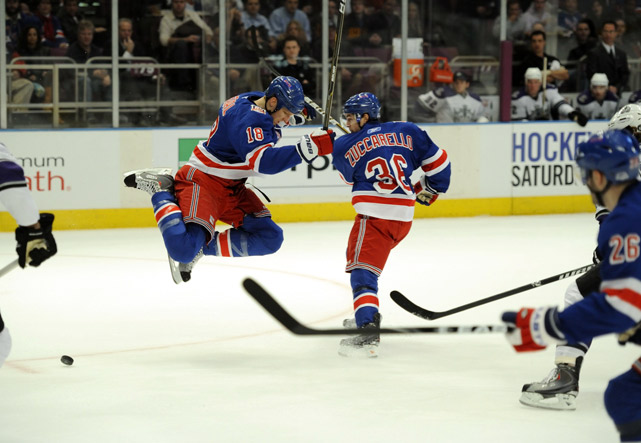 New York Rangers' Marc Staal jumps over Mats Zuccarello's shot during their 4-3 win over the Los Angeles Kings at Madison Square Garden on Feb. 17.