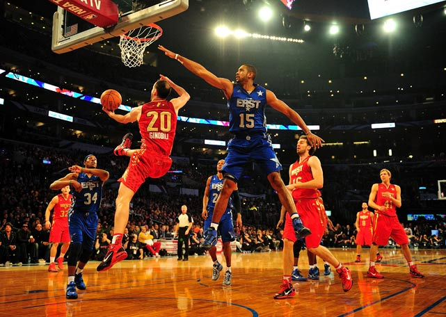 Al Horford tries to block Manu Ginobili during the 2011 NBA All-Star Game on Feb. 20, at the Staples Center in Los Angeles. The West won 148-143.