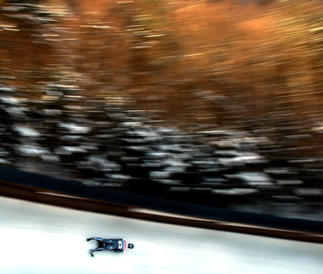 Sandro Stielicke of Germany competes in the third run of the Skeleton World Championship on Feb. 25 in Koenigssee, Germany.
