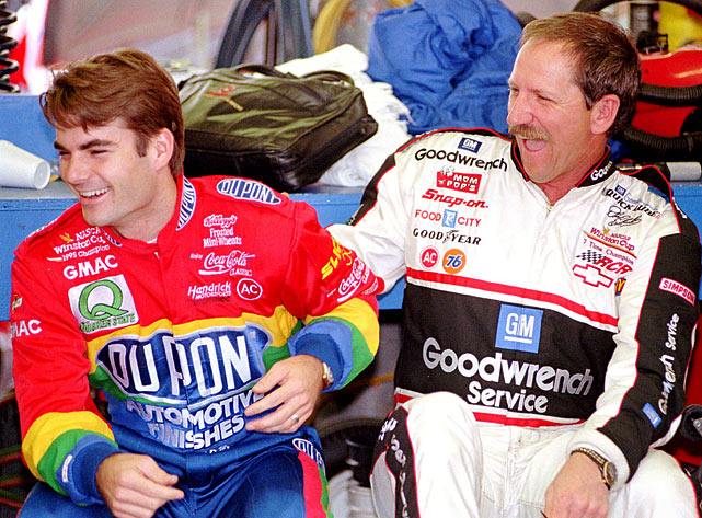 As the sport moved into the mid-1990s, Earnhardt found himself with a new, young rival. Initially nicknaming Jeff Gordon Wonderboy, Earnhardt and his legion of fans had fun creating a heated on-track rivalry with the youngster.In somewhat of a changing of the guard, the then 24-year-old Gordon ended Earnhardt's title run in '95 and went on to win three of four while the Intimidator was forced to stand down for once: he pulled an 0-for in the championship column the rest of his career.