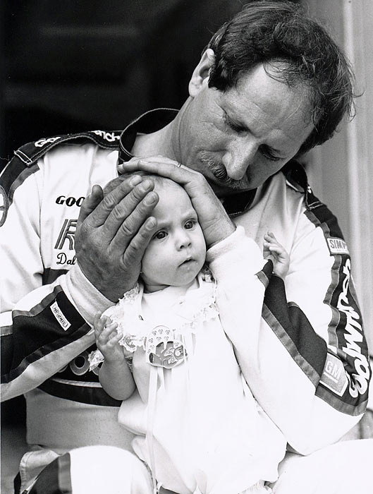 Earnhardt was known for his success at the restrictor plate tracks, Daytona and Talladega, but there's no track he loved more than the egg-shaped oval up in Darlington. Pictured here enjoying the time trials with daughter Taylor in 1989, he would go on to win one of NASCAR's crown jewels, the Southern 500, at the egg-shaped oval later that weekend. In all, he collected nine victories in 44 starts on the sport's oldest superspeedway, a mark that stands second all time to David Pearson.