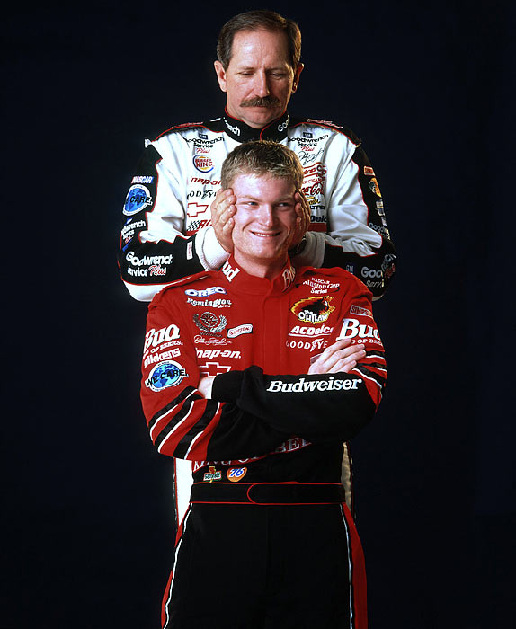 As Earnhardt aged, the Intimidator began to mellow a bit and allow some public displays of emotion -- especially when it came to his son, Dale. The 1998 and '99 Busch Series champion, Junior's surprising rise to fame culminated in a 2000 rookie season at the Cup level in which he won three times -- including the sport's All-Star Race -- prompting Earnhardt the elder to openly praise his son's accomplishments.