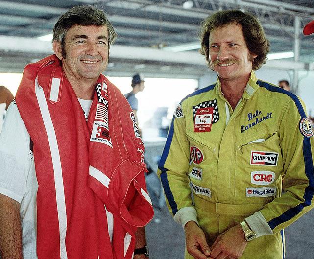 Bobby Allison and Earnhardt share a moment before the Firecracker 400.