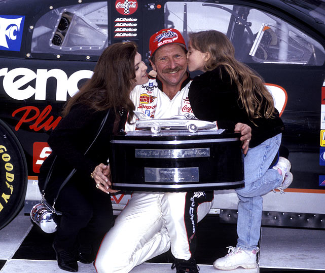 Nineteen years of frustration had defined Dale Earnhardt at Daytona, winning everything under the sun there except the trophy that counted the most: NASCAR's Super Bowl, the Great American Race that turned into a Great American Heartbreak. Bad luck played out in front of a national audience, the man lost the victory on everything from a flat tire to a last-lap pass while wondering if the monkey would ever remove itself from his back. When it finally did, on the 20th try every member of every team slapped his hand coming down pit lane, a unified reminder of how his struggle attached itself to everyone both inside and outside the sport at large.