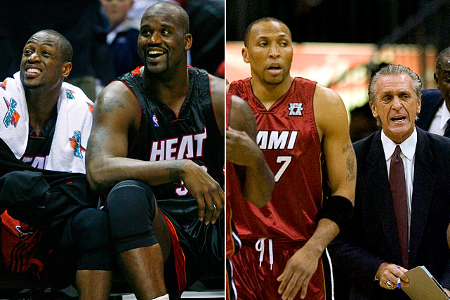 The Heat won the 2006 title behind Dwyane Wade and Shaquille O'Neal, were swept out of the first round of the playoffs the following year and bottomed out in '07-08. Wade was hurt for a good part of that terrible season and Miami dealt Shaq to Phoenix (for Shawn Marion) in February '08. Pat Riley resigned as coach after the season and turned to one of his assistants, Erik Spoelstra, to replace him.