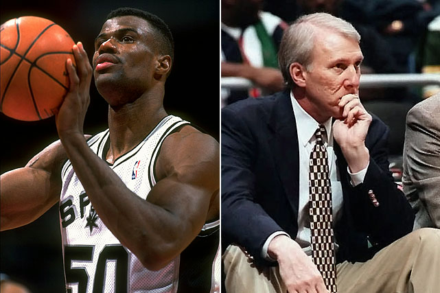 The NBA's biggest win decline for an 82-game season and No. 2 all-time dip in winning percentage -- a 39-game drop sparked by injuries to David Robinson and other key players, and notable for GM Gregg Popovich's replacing Bob Hill as coach in December 1996 -- had its benefits. San Antonio won the 1997 draft lottery -- much to the chagrin of Rick Pitino and the Celtics -- and the right to select Tim Duncan, who has led the Spurs to four titles and helped them become the model franchise in pro sports.