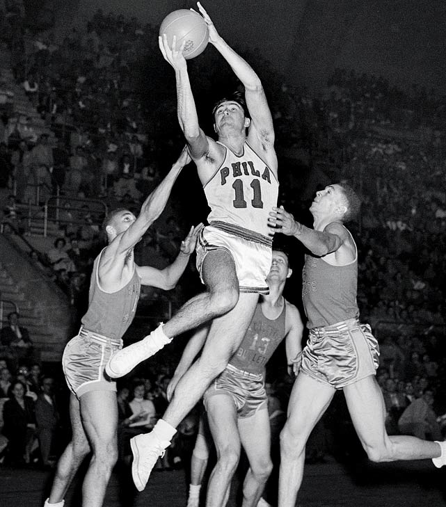 Philadelphia star Paul Arizin was the NBA's leading scorer in '51-52. But he missed the next season (and the one after that) while serving in the Korean War, and in his absence the Warriors had three double-digit losing streaks in their 12-win season. In '55-56, his second year back in the league, Arizin lifted the Warriors to the championship.